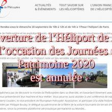 Participation de l'héliport de Paris annulée pour les Journées du Patrimoine 2020